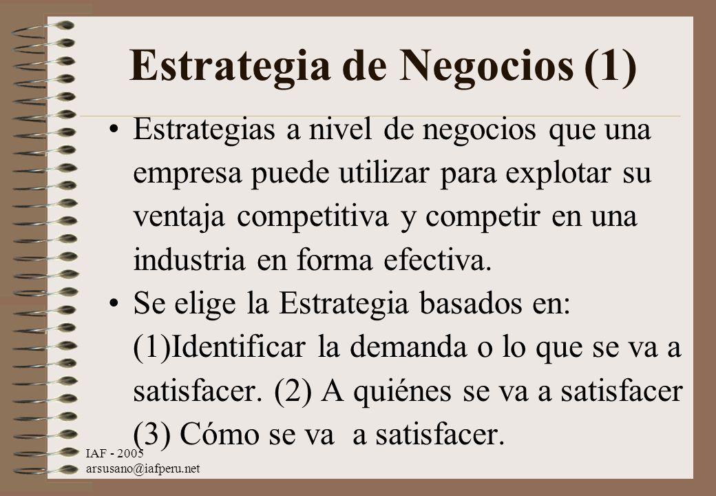 IAF - 2005 arsusano@iafperu.net Estrategia de Negocios (1) Estrategias a nivel de negocios que una empresa puede utilizar para explotar su ventaja com