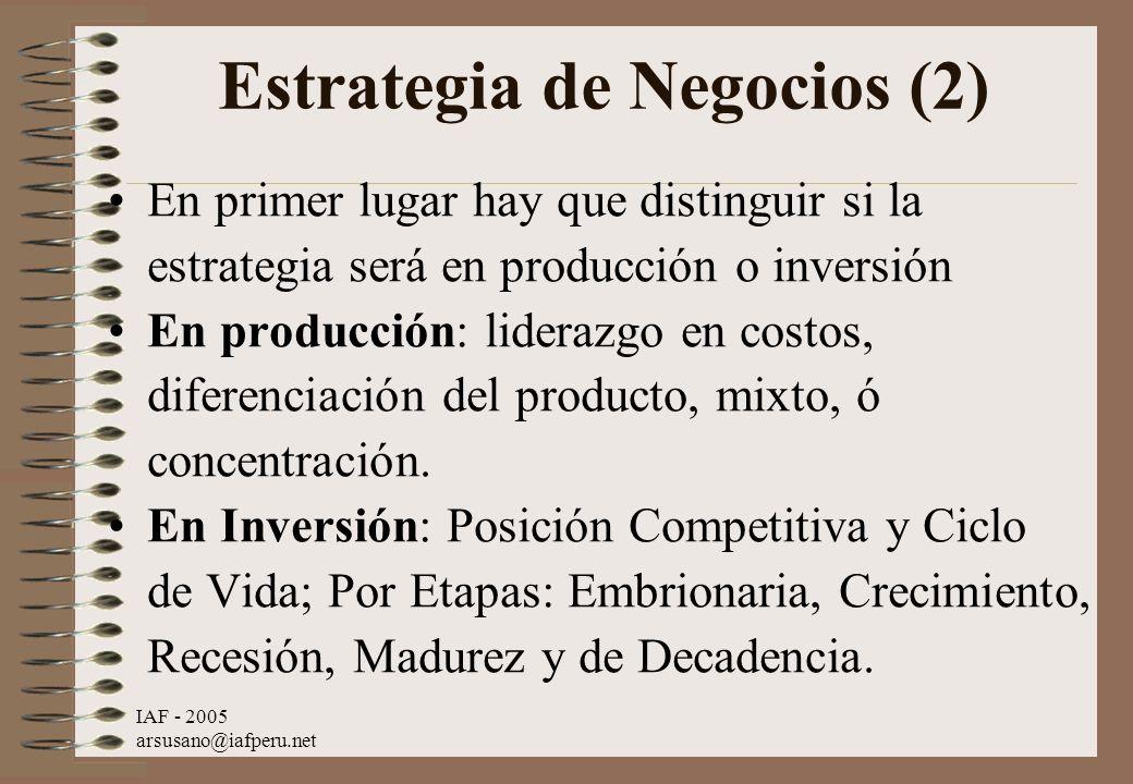 IAF - 2005 arsusano@iafperu.net Estrategia de Negocios (2) En primer lugar hay que distinguir si la estrategia será en producción o inversión En produ