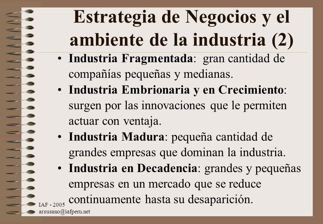 IAF - 2005 arsusano@iafperu.net Estrategia de Negocios y el ambiente de la industria (2) Industria Fragmentada: gran cantidad de compañías pequeñas y