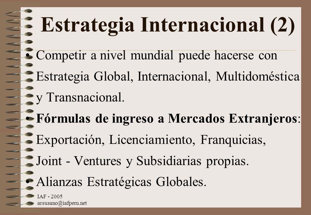 IAF - 2005 arsusano@iafperu.net Estrategia Internacional (2) Competir a nivel mundial puede hacerse con Estrategia Global, Internacional, Multidomésti