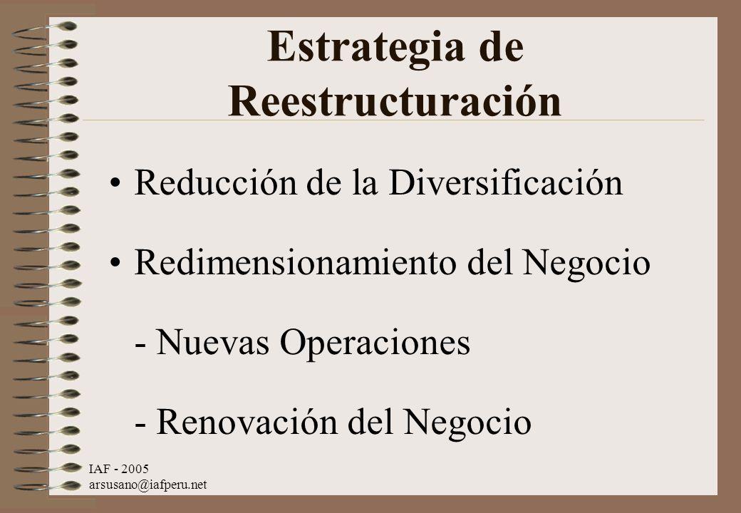 IAF - 2005 arsusano@iafperu.net Estrategia de Reestructuración Reducción de la Diversificación Redimensionamiento del Negocio - Nuevas Operaciones - R