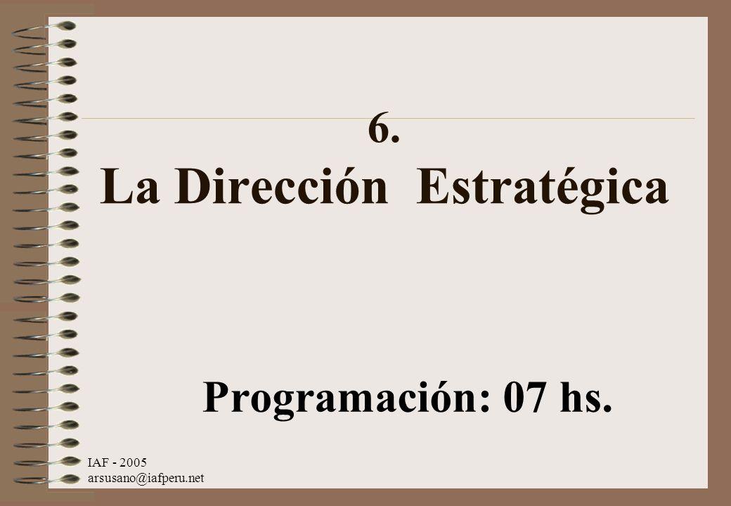 IAF - 2005 arsusano@iafperu.net 6. La Dirección Estratégica Programación: 07 hs.
