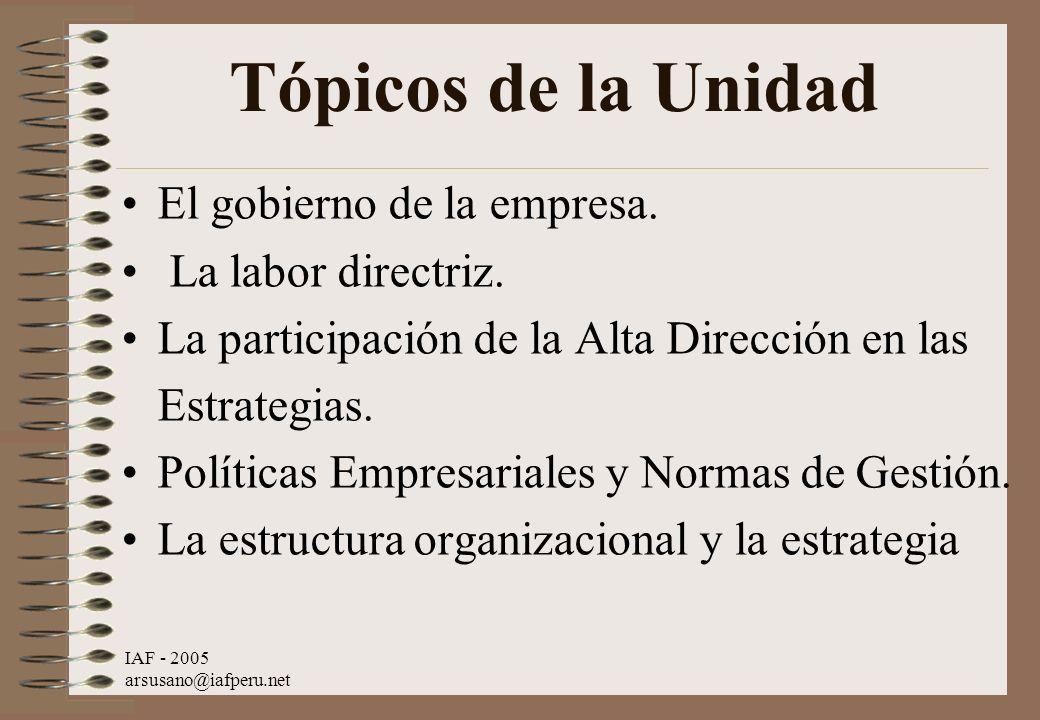 IAF - 2005 arsusano@iafperu.net Tópicos de la Unidad El gobierno de la empresa. La labor directriz. La participación de la Alta Dirección en las Estra