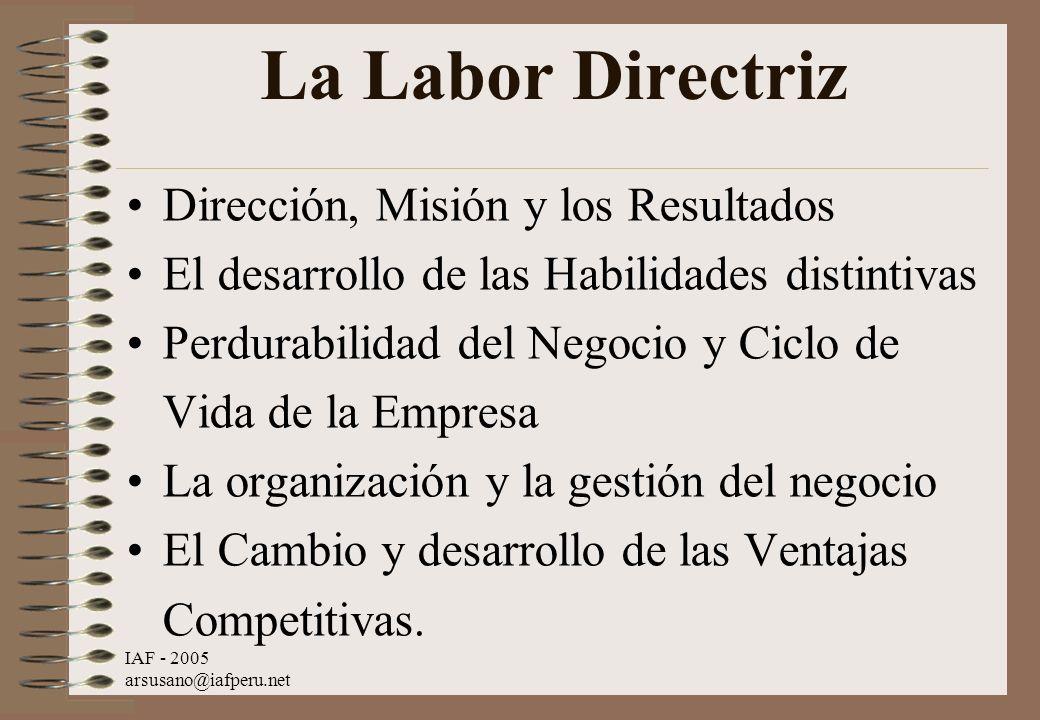IAF - 2005 arsusano@iafperu.net La Labor Directriz Dirección, Misión y los Resultados El desarrollo de las Habilidades distintivas Perdurabilidad del
