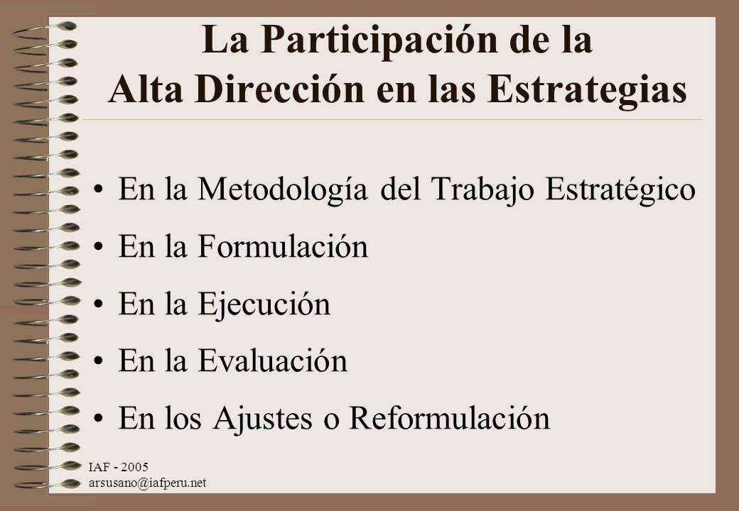IAF - 2005 arsusano@iafperu.net La Participación de la Alta Dirección en las Estrategias En la Metodología del Trabajo Estratégico En la Formulación E