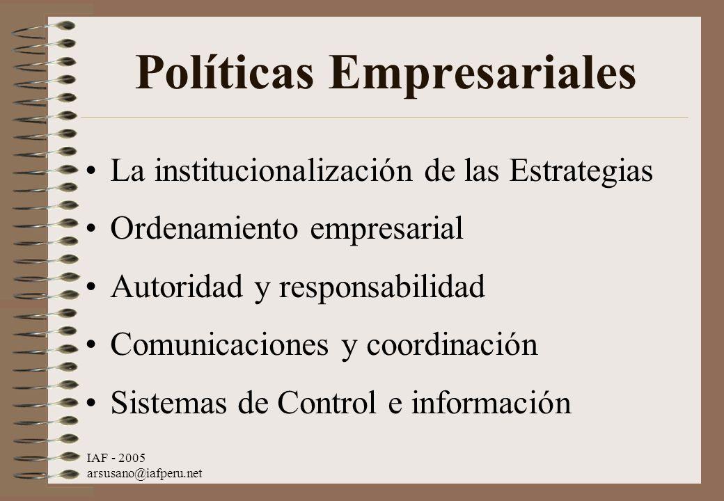 IAF - 2005 arsusano@iafperu.net Políticas Empresariales La institucionalización de las Estrategias Ordenamiento empresarial Autoridad y responsabilida