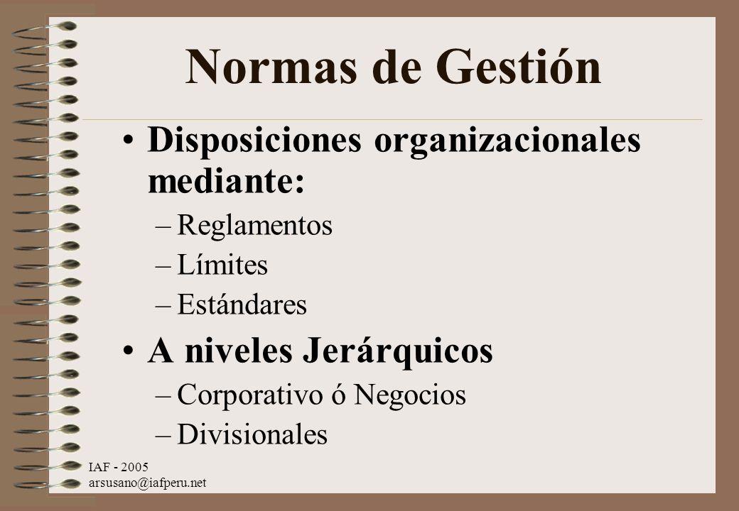 IAF - 2005 arsusano@iafperu.net Normas de Gestión Disposiciones organizacionales mediante: –Reglamentos –Límites –Estándares A niveles Jerárquicos –Co