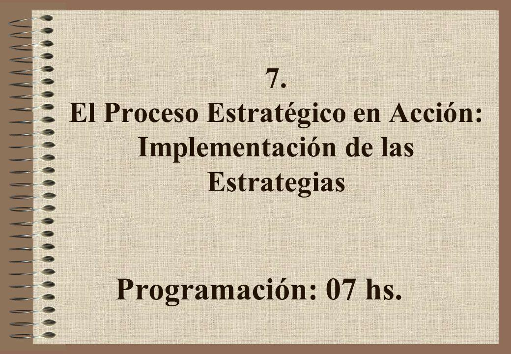 7. El Proceso Estratégico en Acción: Implementación de las Estrategias Programación: 07 hs.