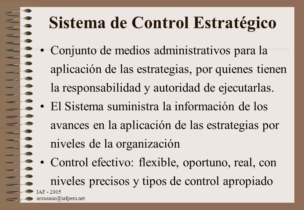IAF - 2005 arsusano@iafperu.net Sistema de Control Estratégico Conjunto de medios administrativos para la aplicación de las estrategias, por quienes t