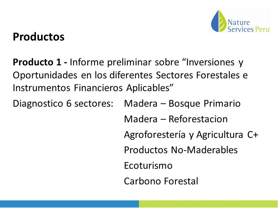 Productos Producto 1 - Informe preliminar sobre Inversiones y Oportunidades en los diferentes Sectores Forestales e Instrumentos Financieros Aplicables Diagnostico 6 sectores: Madera – Bosque Primario Madera – Reforestacion Agroforestería y Agricultura C+ Productos No-Maderables Ecoturismo Carbono Forestal