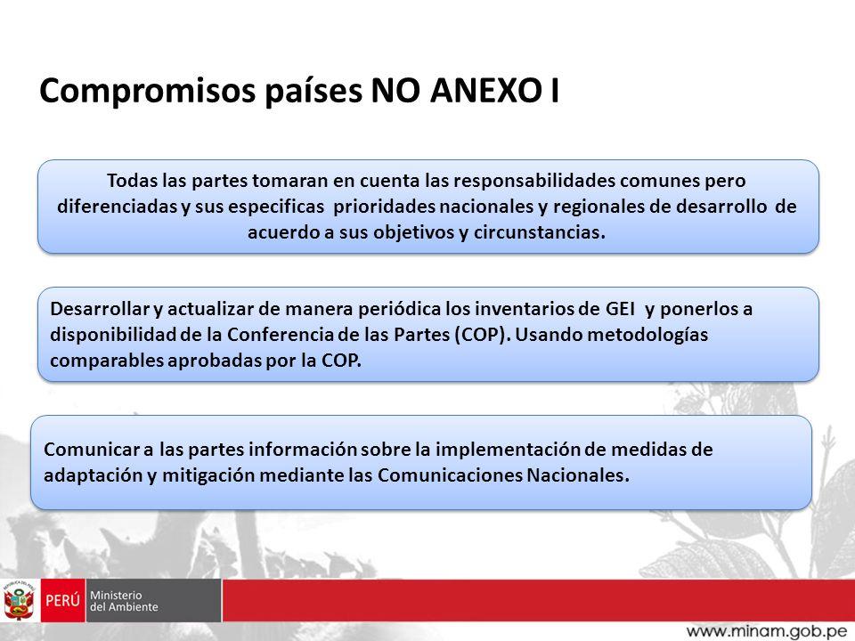 Compromisos países NO ANEXO I Todas las partes tomaran en cuenta las responsabilidades comunes pero diferenciadas y sus especificas prioridades nacion