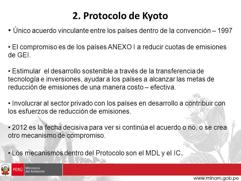 Único acuerdo vinculante entre los países dentro de la convención – 1997 El compromiso es de los países ANEXO I a reducir cuotas de emisiones de GEI.