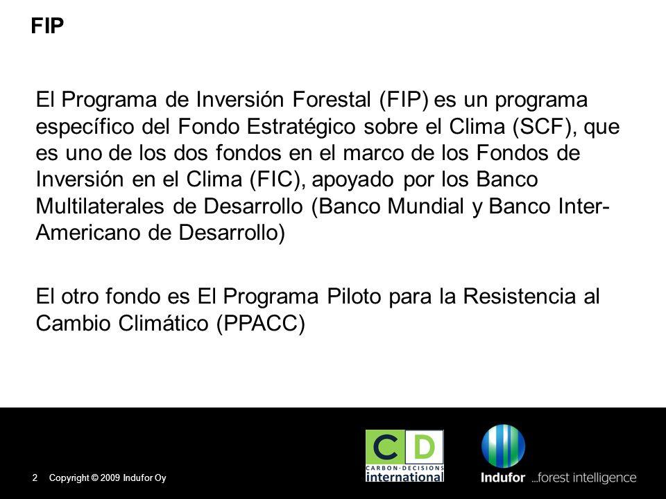 Propósito del FIP Respaldar esfuerzos del Perú por reducir las emisiones debidas a la deforestación y la degradación de bosques (REDD+): Mediante financiamiento puente inicial para reformas que les permitan prepararse para esa tarea Así como la obtención de inversiones públicas y privadas identificadas a través de estrategias nacionales de preparación Al mismo tiempo, se tendrán en cuenta las oportunidades del país para adaptarse a los efectos del cambio climático en los bosques y de contribuir a numerosos beneficios, tales como: Conservación de la biodiversidad Protección de los derechos de los pueblos indígenas y las comunidades locales Reducción de la pobreza y la mejora de los medios de subsistencia de la población rural.