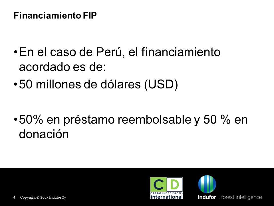 Financiamiento FIP En el caso de Perú, el financiamiento acordado es de: 50 millones de dólares (USD) 50% en préstamo reembolsable y 50 % en donación