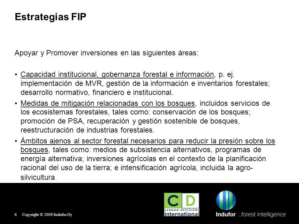 Estrategias FIP Apoyar y Promover inversiones en las siguientes áreas: Capacidad institucional, gobernanza forestal e información, p. ej. implementaci