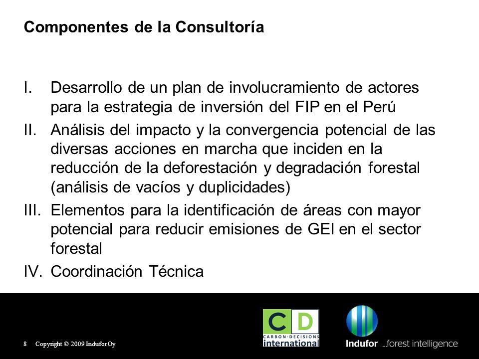 Comité Directivo del FIP Miembros del Comité Directivo del FIP: 1.MINAM: Dirección General de Cambio Climático, Desertificación y Recursos Hídricos y Programa Nacional de Conservación de Bosques para la Mitigación del Cambio Climático 2.MINAG: Dirección General Forestal y de Fauna Silvestre 3.MEF: Dirección General de Asuntos de Economía Internacional, Competencia y Productividad 4.CIAM: Consejo Interregional Amazónico 5.FONAM: Fondo Ambiental Nacional 6.BID: Banco Interamericano de Desarrollo Copyright © 2009 Indufor Oy9