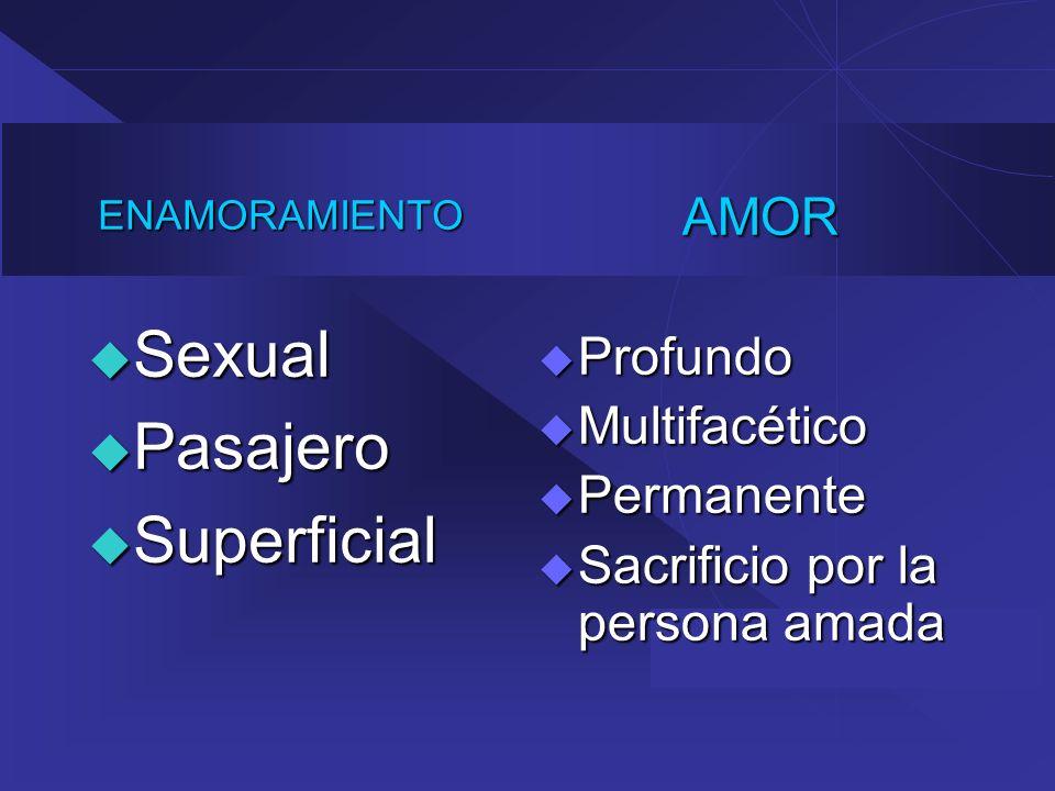 ENAMORAMIENTO Sexual Sexual Pasajero Pasajero Superficial SuperficialAMOR Profundo Profundo Multifacético Multifacético Permanente Permanente Sacrific