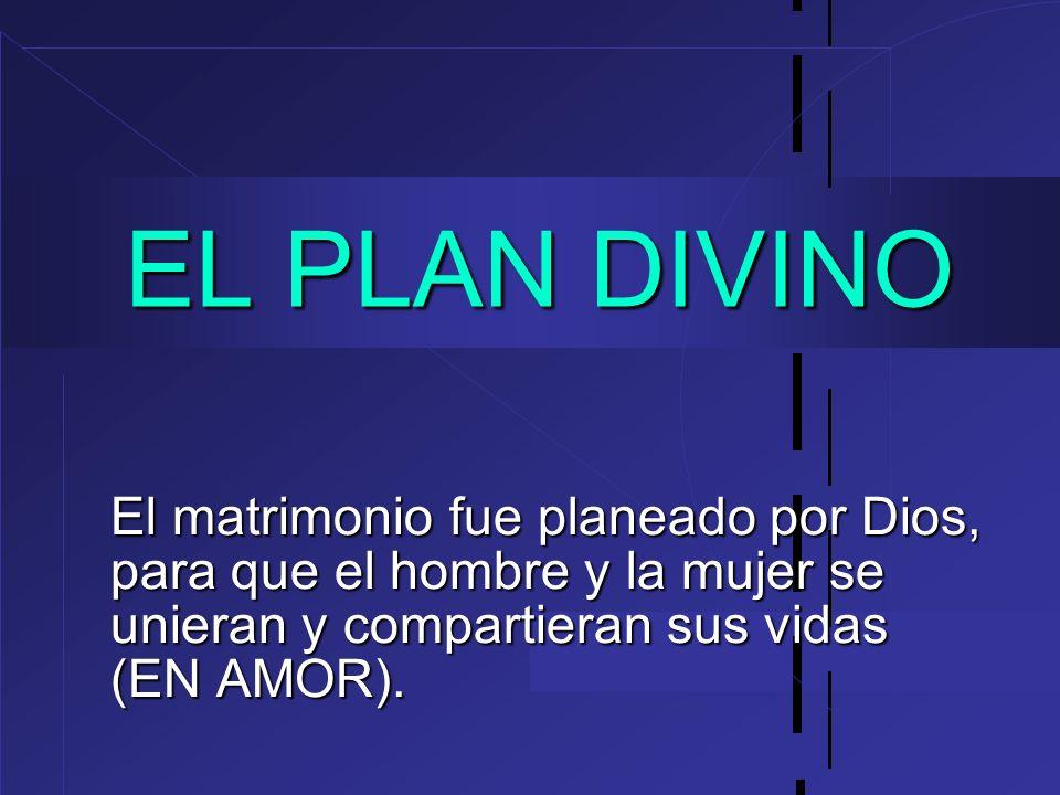 EL PLAN DIVINO El matrimonio fue planeado por Dios, para que el hombre y la mujer se unieran y compartieran sus vidas (EN AMOR).
