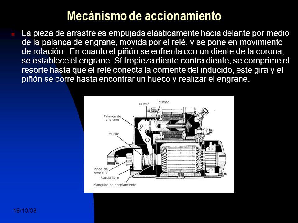 18/10/06 DuocUc, Ingenería Mecánica Automotriz y Autotrónica 13 La pieza de arrastre es empujada elásticamente hacia delante por medio de la palanca de engrane, movida por el relé, y se pone en movimiento de rotación.