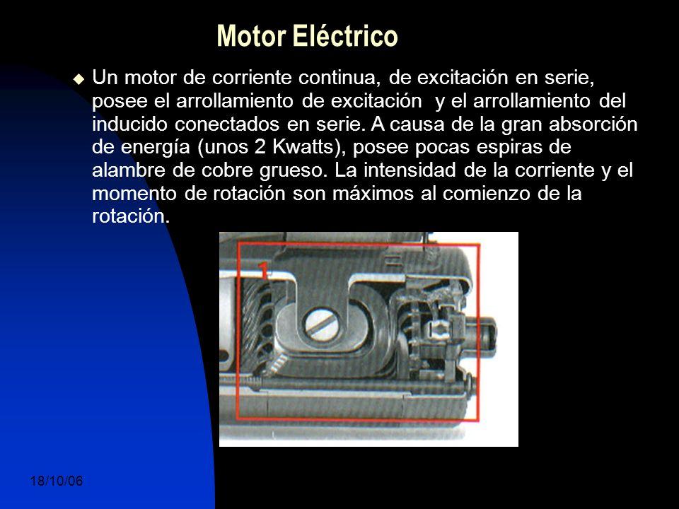 18/10/06 DuocUc, Ingenería Mecánica Automotriz y Autotrónica 6 Motor Eléctrico Un motor de corriente continua, de excitación en serie, posee el arrollamiento de excitación y el arrollamiento del inducido conectados en serie.