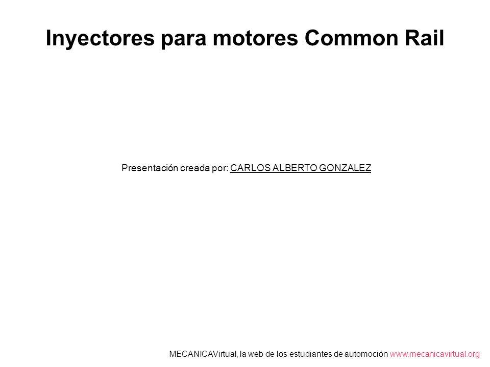 Inyectores para motores Common Rail Presentación creada por: CARLOS ALBERTO GONZALEZ MECANICAVirtual, la web de los estudiantes de automoción www.mecanicavirtual.org