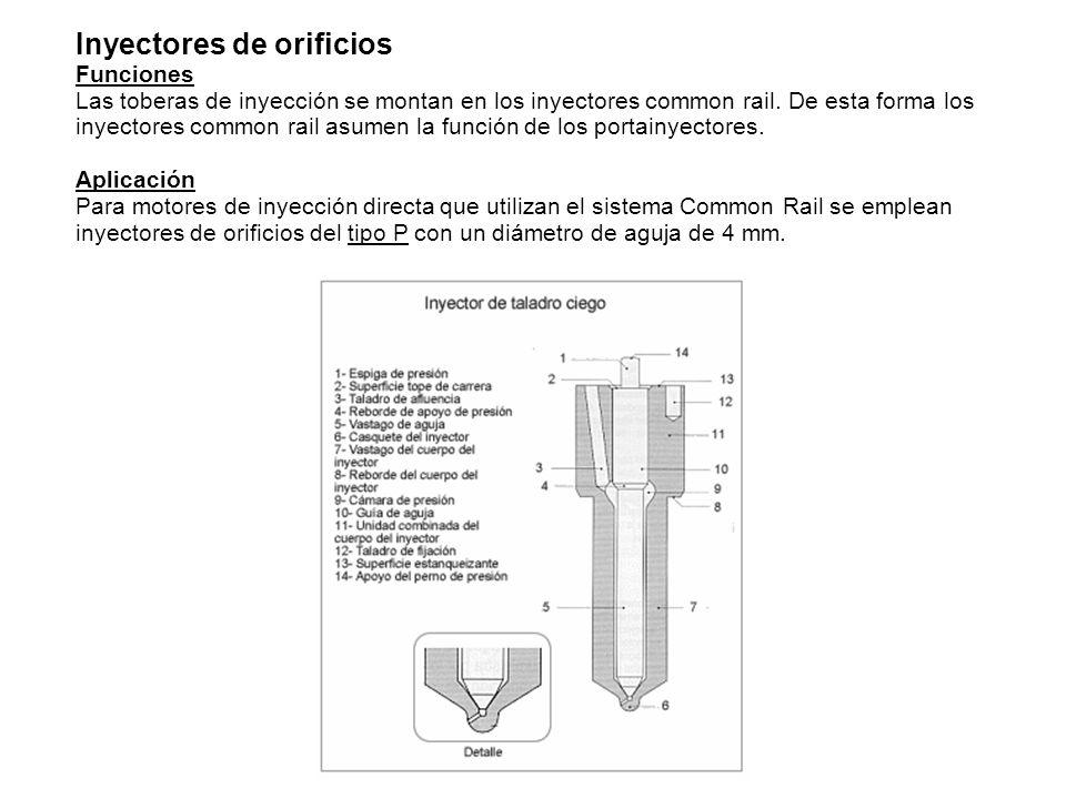 Inyectores de orificios Funciones Las toberas de inyección se montan en los inyectores common rail.