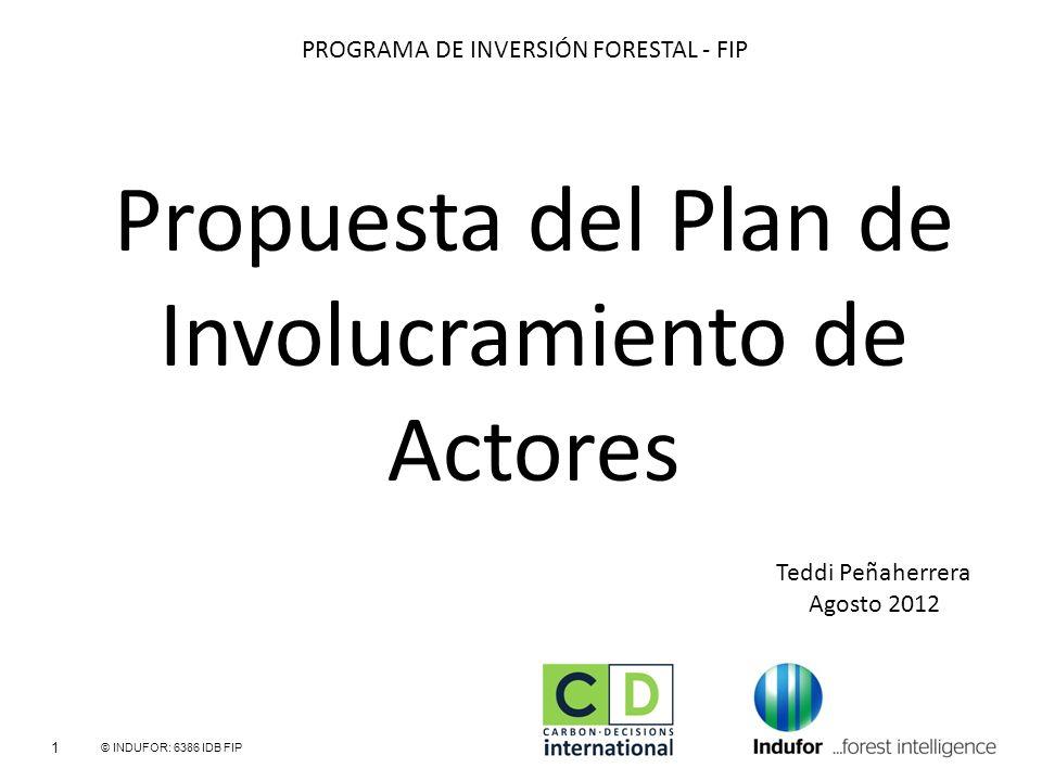 Propuesta del Plan de Involucramiento de Actores 1 © INDUFOR: 6386 IDB FIP Teddi Peñaherrera Agosto 2012 PROGRAMA DE INVERSIÓN FORESTAL - FIP