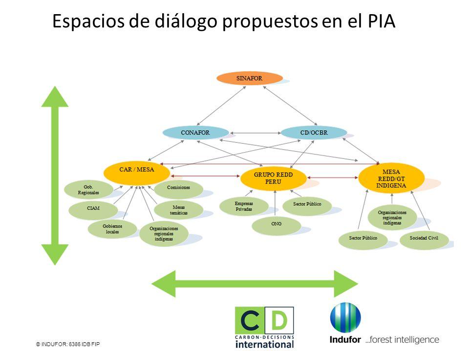 Espacios de diálogo propuestos en el PIA © INDUFOR: 6386 IDB FIP
