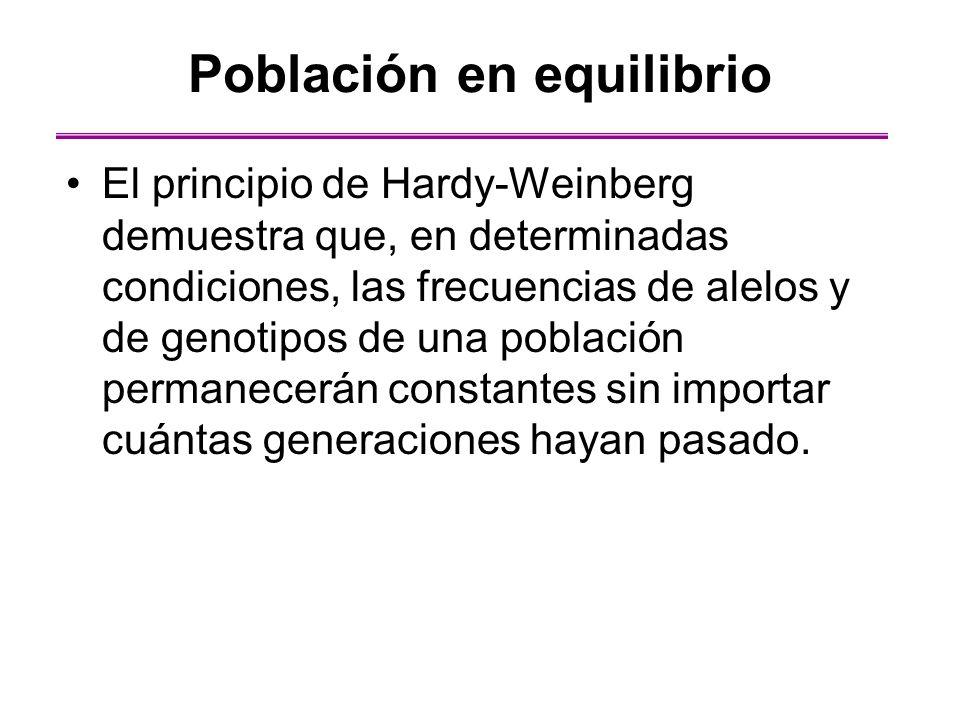 El principio de Hardy-Weinberg demuestra que, en determinadas condiciones, las frecuencias de alelos y de genotipos de una población permanecerán cons