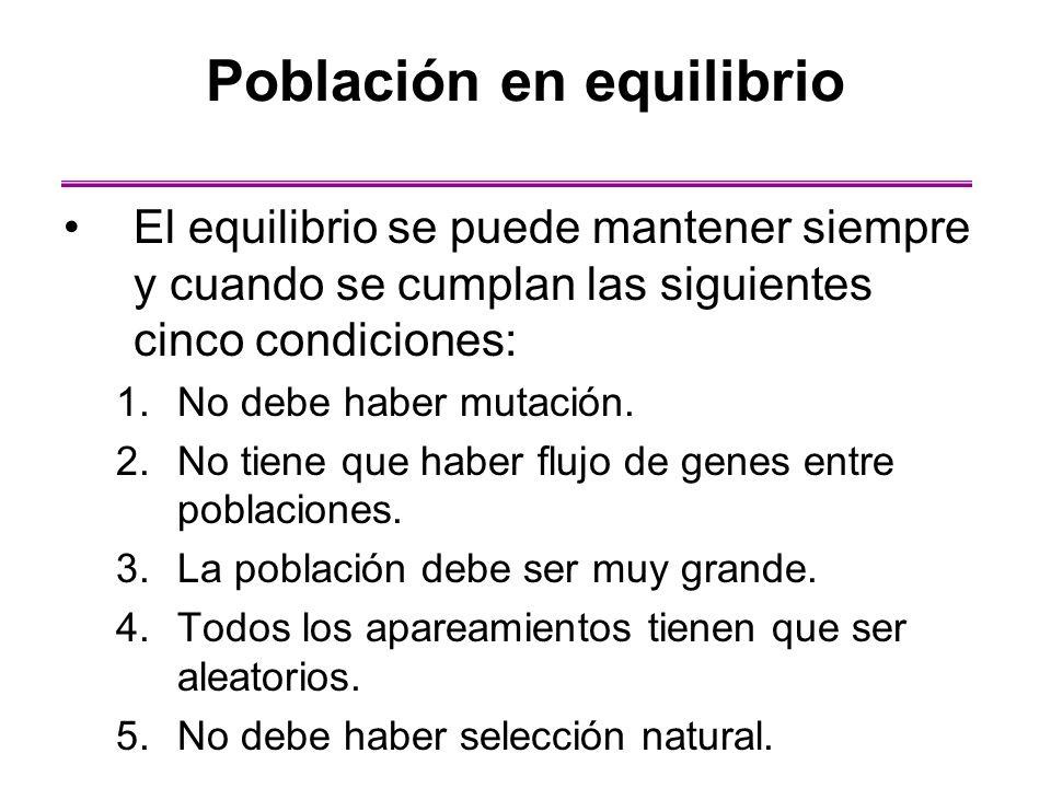 El equilibrio se puede mantener siempre y cuando se cumplan las siguientes cinco condiciones: 1.No debe haber mutación. 2.No tiene que haber flujo de