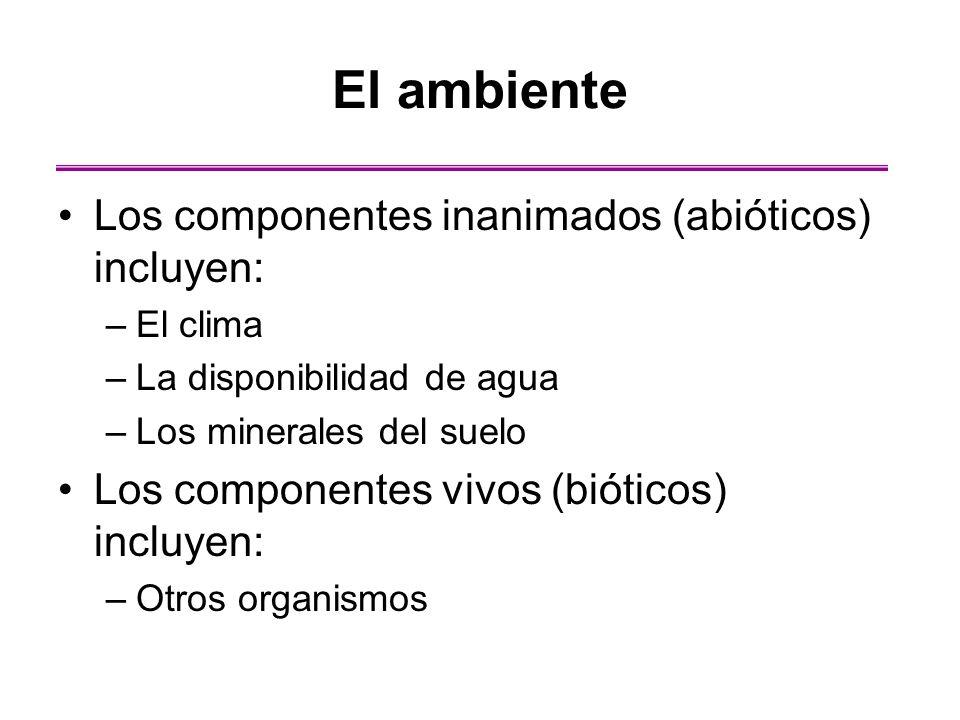 El ambiente Los componentes inanimados (abióticos) incluyen: –El clima –La disponibilidad de agua –Los minerales del suelo Los componentes vivos (biót