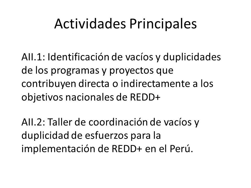 Actividades Principales AII.2: Taller de coordinación de vacíos y duplicidad de esfuerzos para la implementación de REDD+ en el Perú. AII.1: Identific