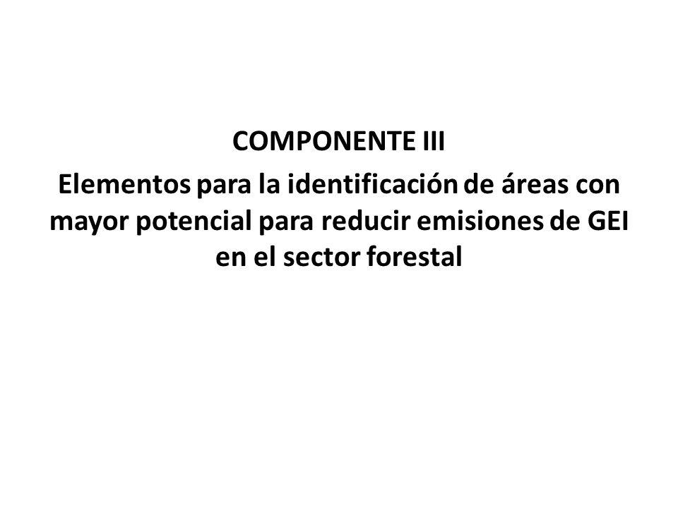 COMPONENTE III Elementos para la identificación de áreas con mayor potencial para reducir emisiones de GEI en el sector forestal