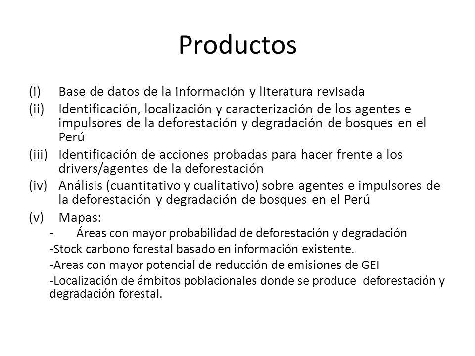 Productos (i)Base de datos de la información y literatura revisada (ii)Identificación, localización y caracterización de los agentes e impulsores de l