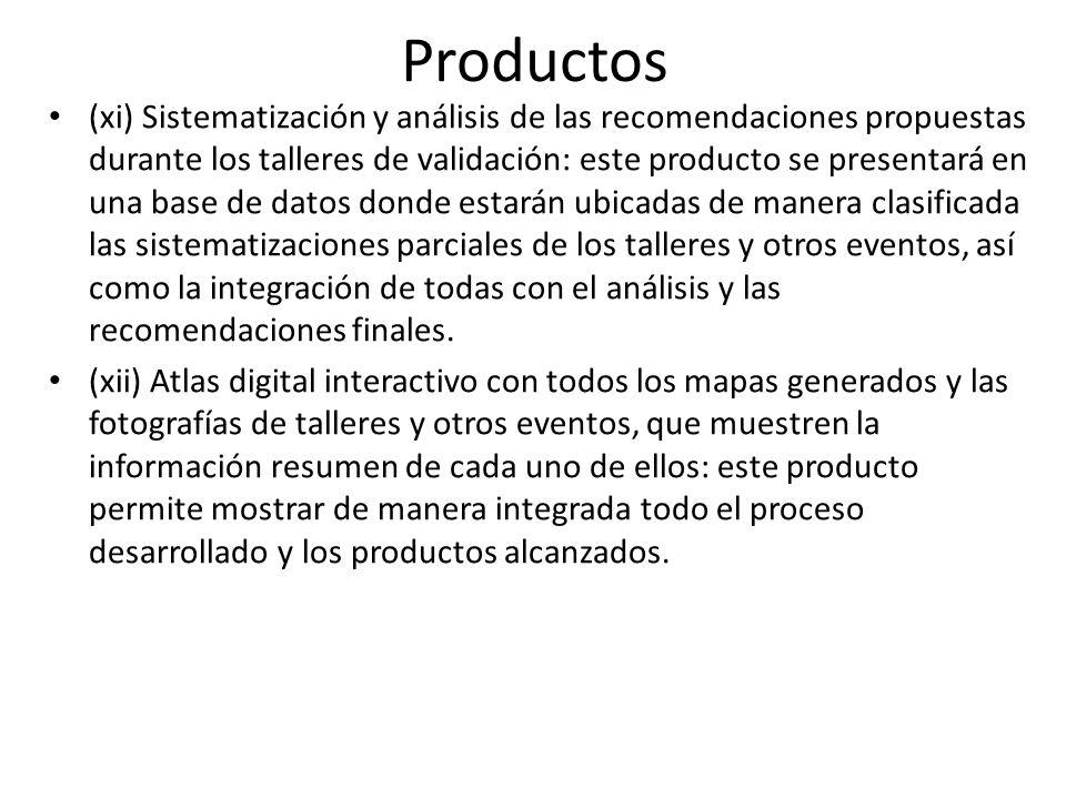 Productos (xi) Sistematización y análisis de las recomendaciones propuestas durante los talleres de validación: este producto se presentará en una bas