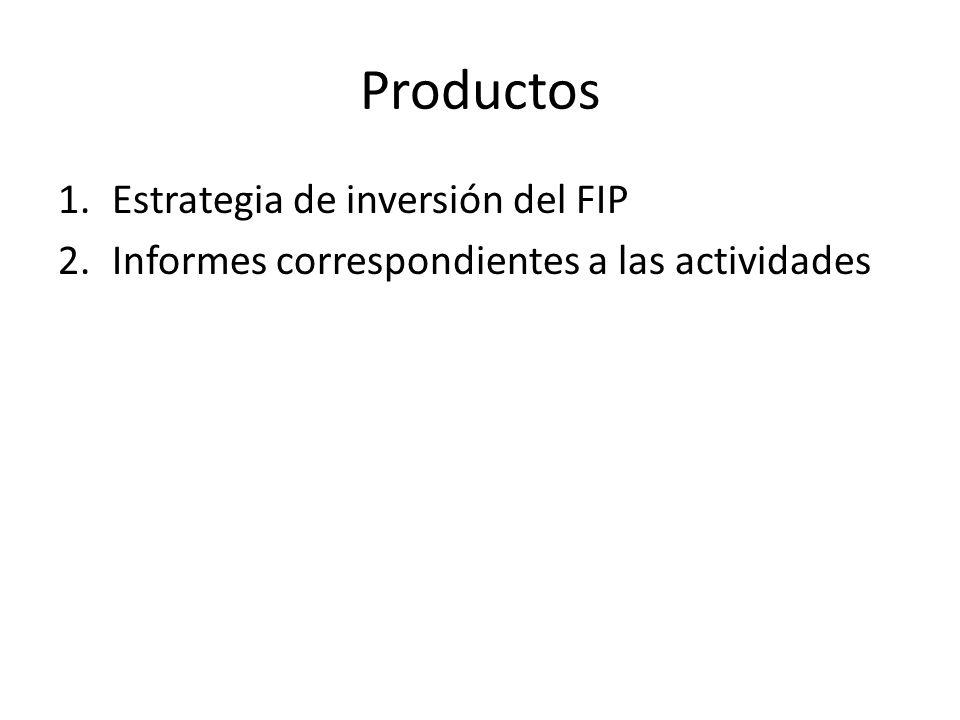 Productos 1.Estrategia de inversión del FIP 2.Informes correspondientes a las actividades