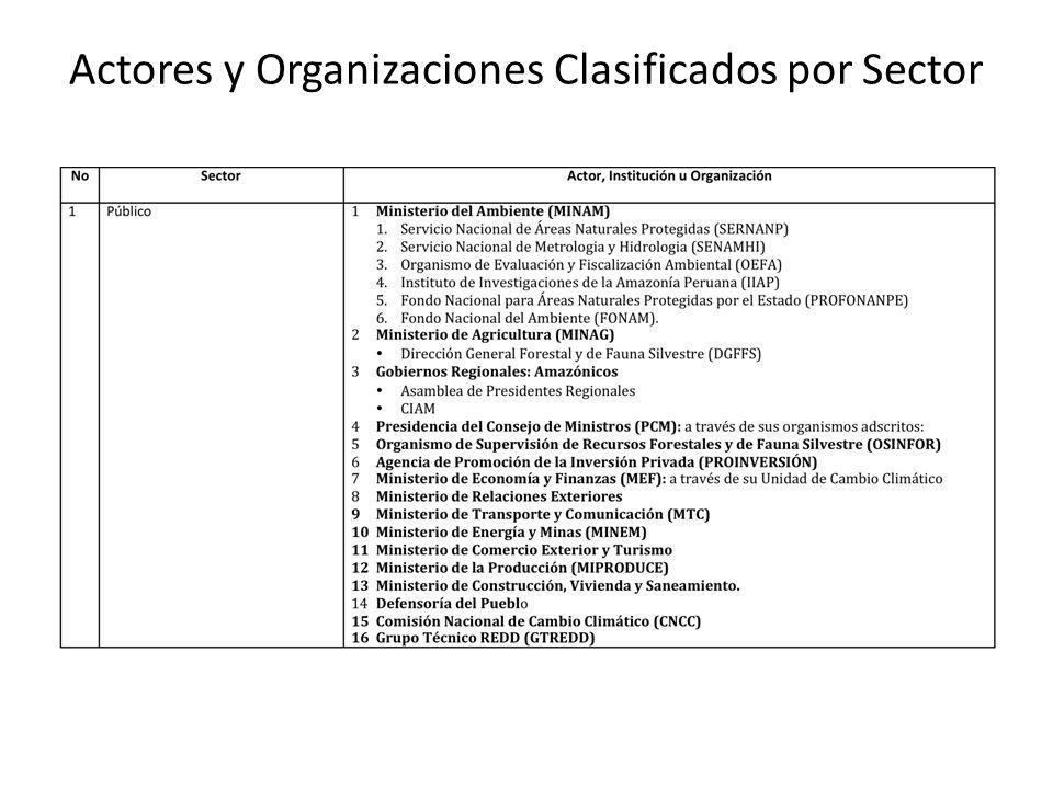 Actores y Organizaciones Clasificados por Sector