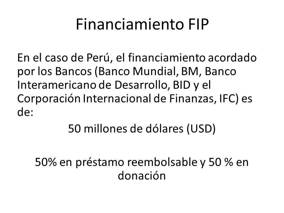Financiamiento FIP En el caso de Perú, el financiamiento acordado por los Bancos (Banco Mundial, BM, Banco Interamericano de Desarrollo, BID y el Corp