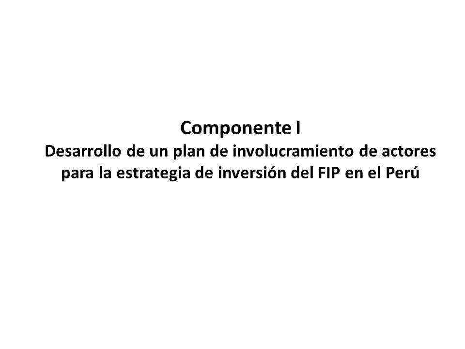 Componente I Desarrollo de un plan de involucramiento de actores para la estrategia de inversión del FIP en el Perú