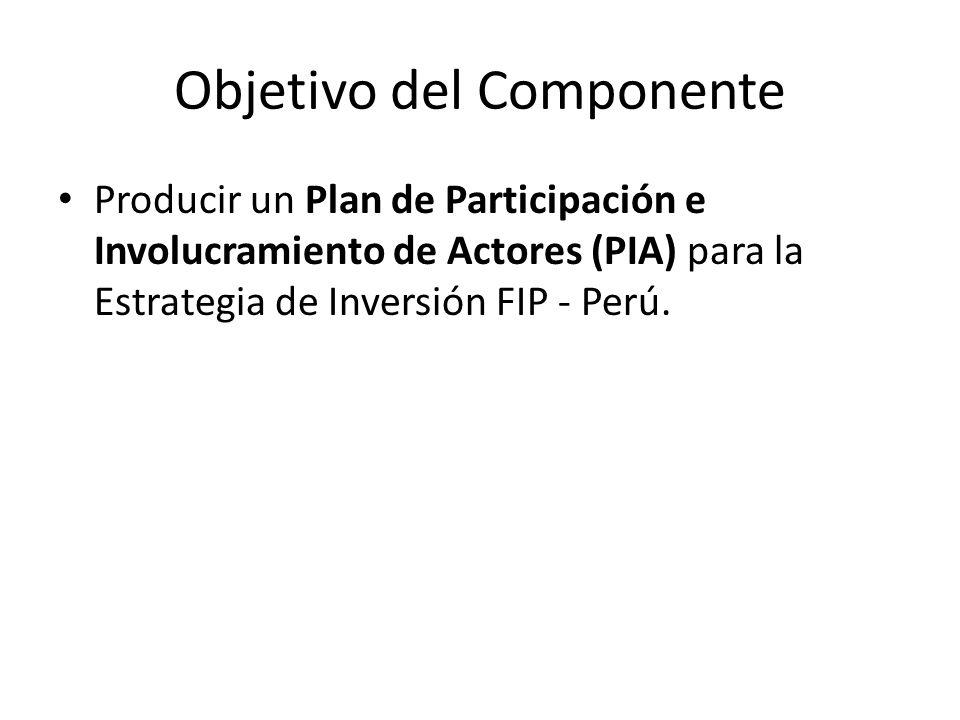 Objetivo del Componente Producir un Plan de Participación e Involucramiento de Actores (PIA) para la Estrategia de Inversión FIP - Perú.