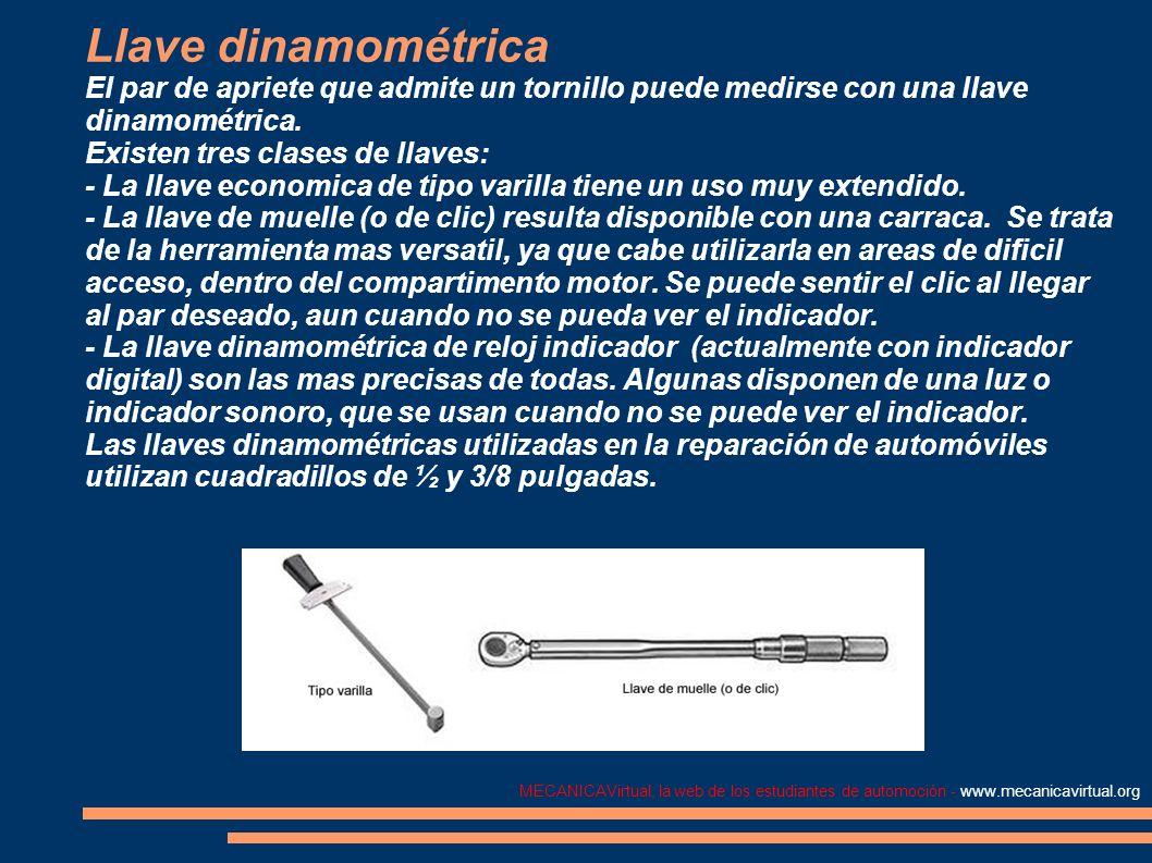 MECANICAVirtual, la web de los estudiantes de automoción - www.mecanicavirtual.org Llave dinamométrica El par de apriete que admite un tornillo puede