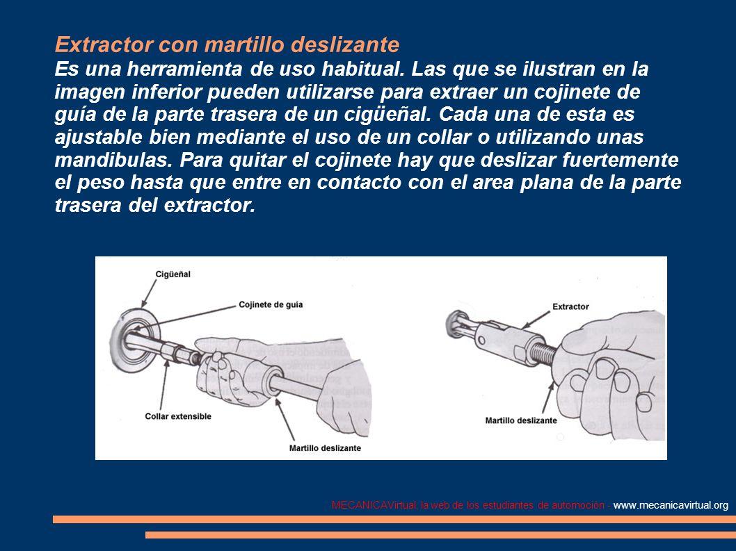 Extractor con martillo deslizante Es una herramienta de uso habitual. Las que se ilustran en la imagen inferior pueden utilizarse para extraer un coji