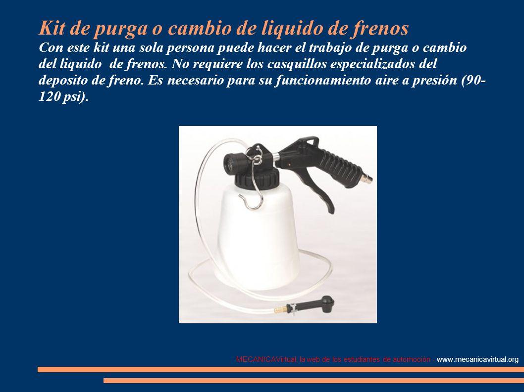 MECANICAVirtual, la web de los estudiantes de automoción - www.mecanicavirtual.org Kit de purga o cambio de liquido de frenos Con este kit una sola pe