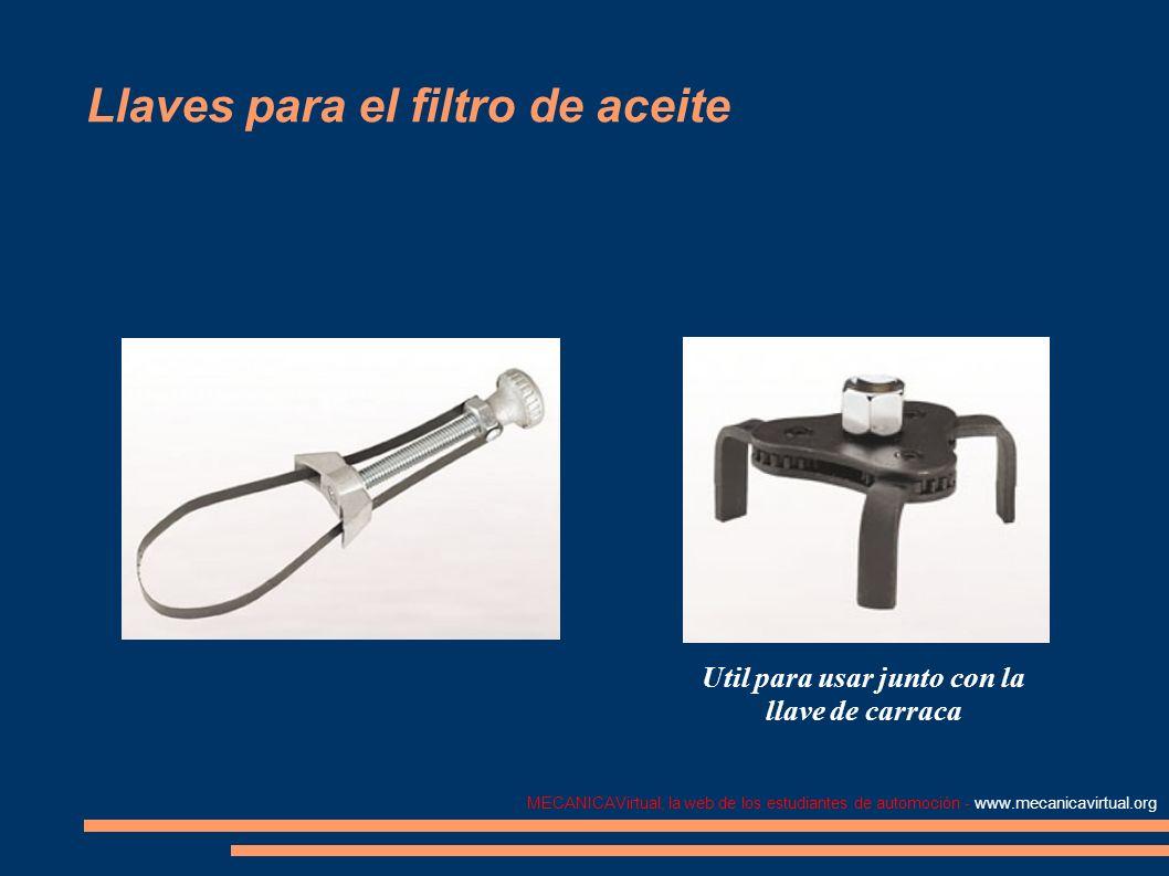 MECANICAVirtual, la web de los estudiantes de automoción - www.mecanicavirtual.org Llaves para el filtro de aceite Util para usar junto con la llave d