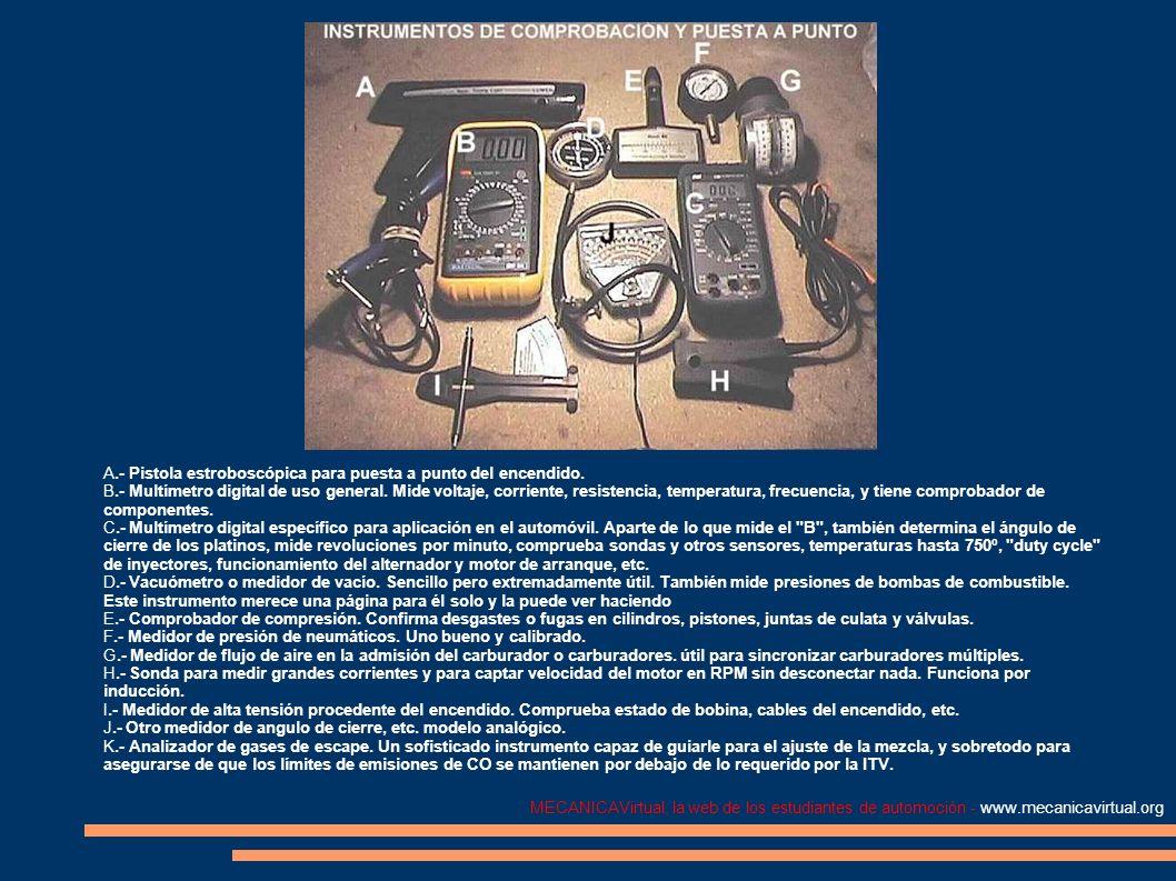 MECANICAVirtual, la web de los estudiantes de automoción - www.mecanicavirtual.org A.- Pistola estroboscópica para puesta a punto del encendido. B.- M