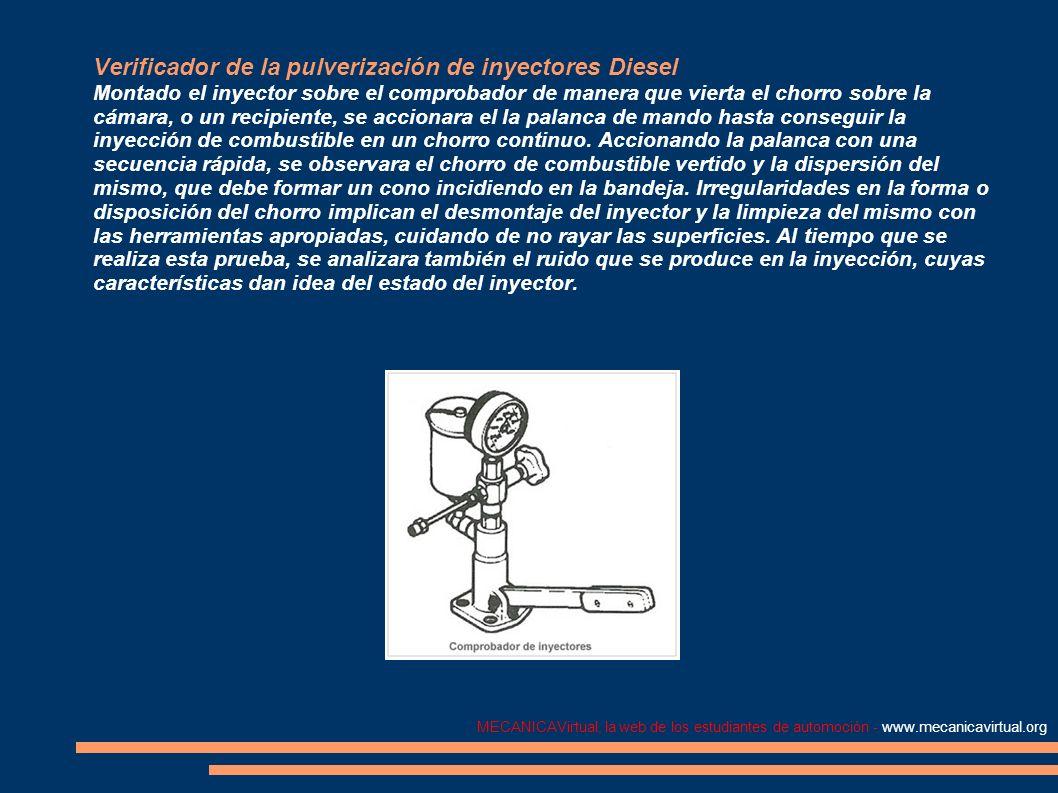 MECANICAVirtual, la web de los estudiantes de automoción - www.mecanicavirtual.org Verificador de la pulverización de inyectores Diesel Montado el iny