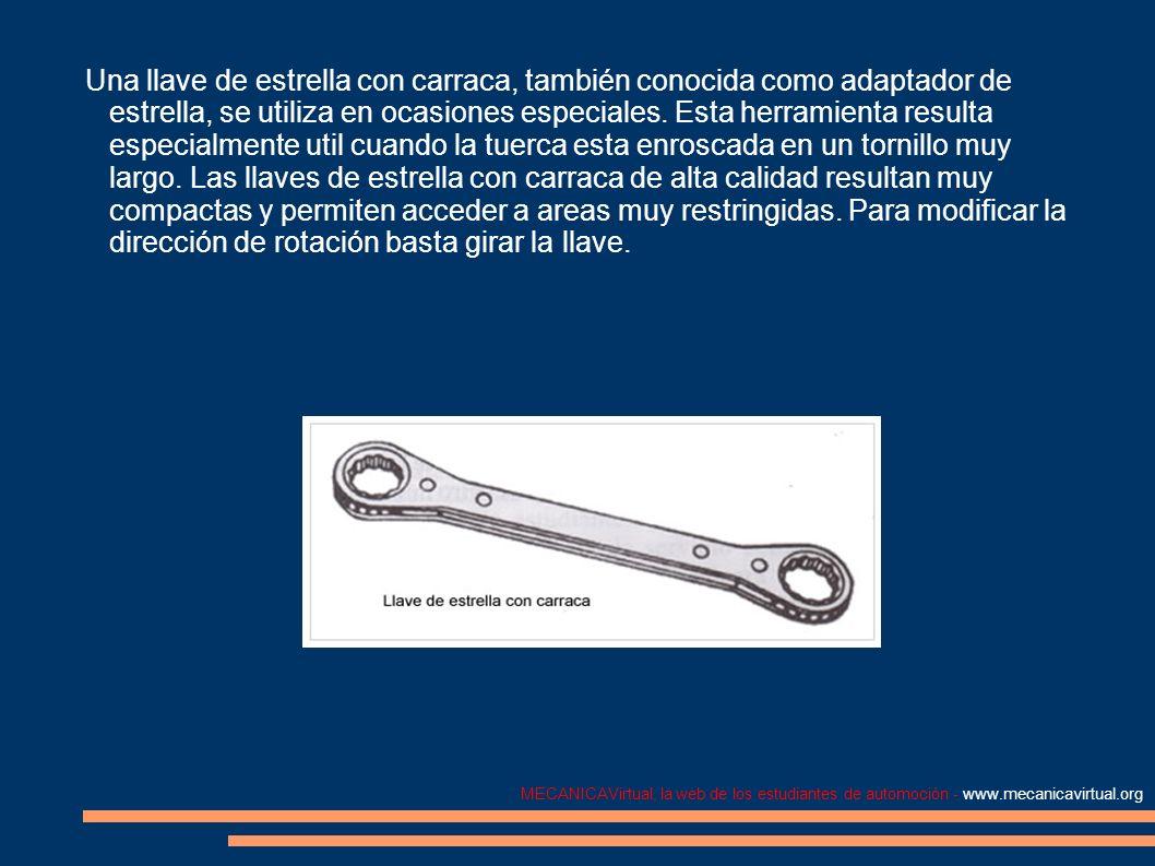 MECANICAVirtual, la web de los estudiantes de automoción - www.mecanicavirtual.org Una llave de estrella con carraca, también conocida como adaptador