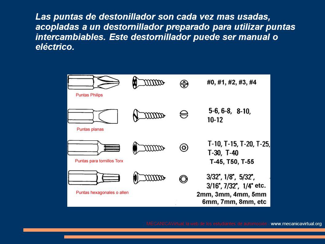 MECANICAVirtual, la web de los estudiantes de automoción - www.mecanicavirtual.org Cinceles y punzones El cincel y el punzón (botadores) se utilizan conjuntamente con un martillo.