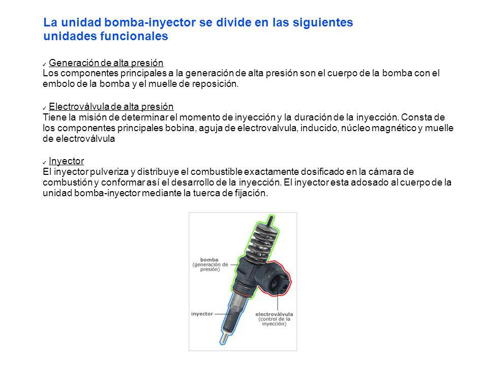 Generación de alta presión Los componentes principales a la generación de alta presión son el cuerpo de la bomba con el embolo de la bomba y el muelle de reposición.
