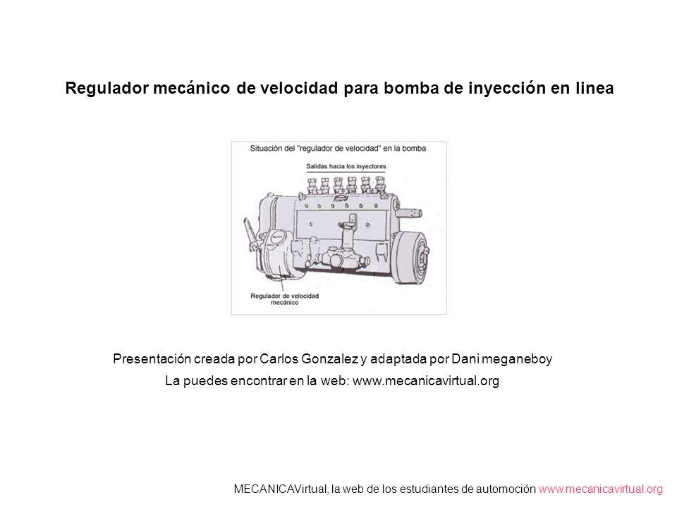 Regulador mecánico de velocidad para bomba de inyección en linea MECANICAVirtual, la web de los estudiantes de automoción www.mecanicavirtual.org Pres